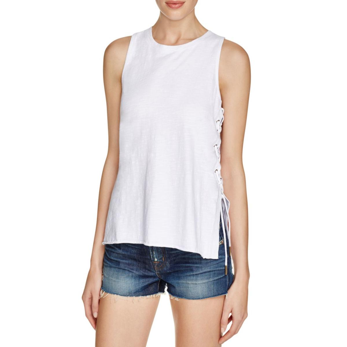 Blank NYC Womens Lace- Up Heathered Tank Top