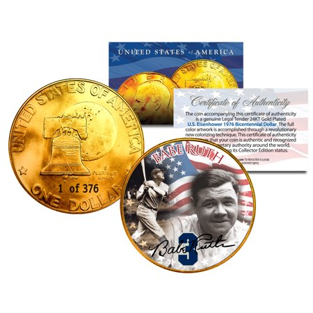 - 1976 BABE RUTH 24K Gold Plated IKE Dollar *Each Coin Serial Numbered of 376*