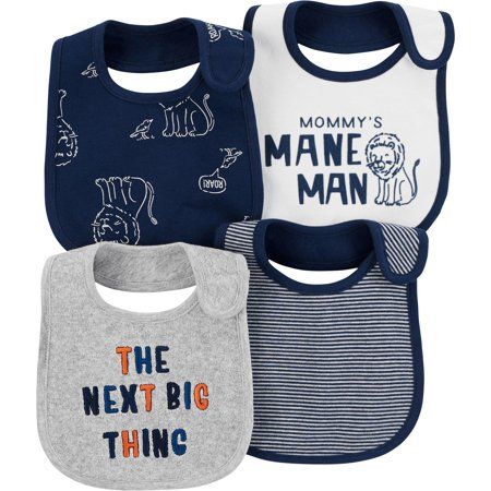 Carters Baby Boys 4-pk. Mommy's Mane Man Lion Teething Bibs One Size Navy blue/white/grey - Baby Lion