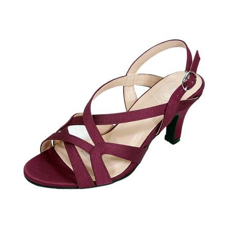 Strappy Slingback Sandals - FLORAL Charlotte Women Wide Width Criss-Cross Strappy OpenToe Dressy Slingback Heeled Sandals