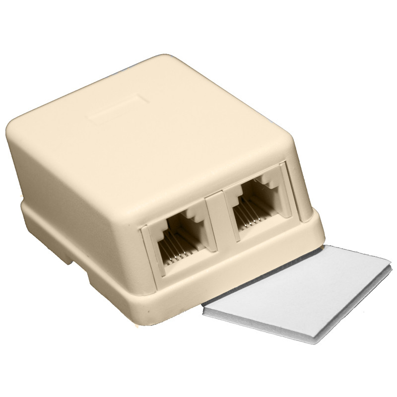 Double Surface Mount Wall Jack Lt. Almond
