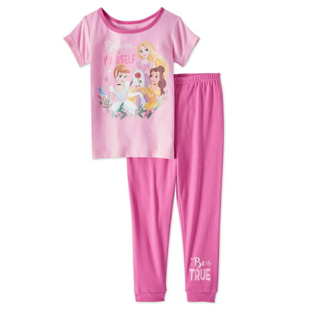 Disney Princess baby toddler girls' short sleeve tight fit pajamas, 2-piece set Disney Store Princess Pj