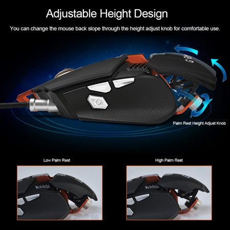AJAZZ GTX E-sport Gaming Mouse 4000DPI USB Wired Mechanical Mouse 7 Buttons Replaceable Palm Rest Adjustable Height Breathing LED