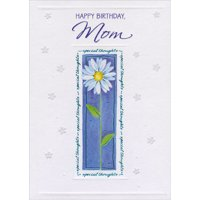 Designer Greetings Daisy with Tall Stem and Blue Foil Text Frame Birthday Card for Mom