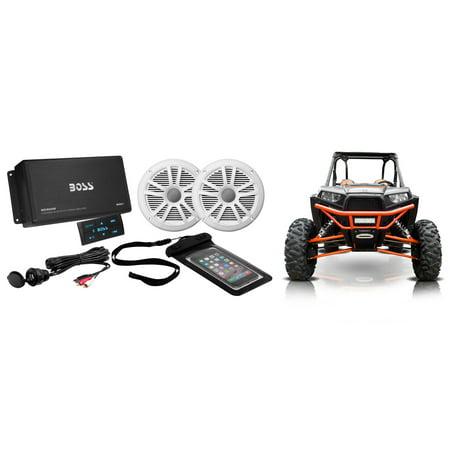 "Boss Audio 4 Channel 500W Bluetooth Amplifier+6.5"" Speakers Polaris RZR/ATV/UTV"