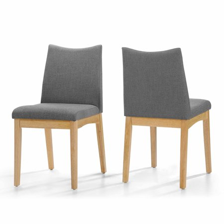Gertrude Fabric and Wood Dining Chairs, Set of 2, Dark Grey/ Oak Finish