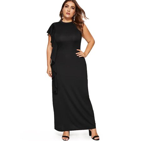 Women Plus Size Side Flounce Dress Sleeveless Plain Casual Long Maxi