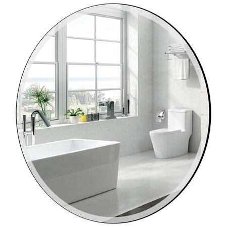 Gymax 28'' Round Mirror Wall Mounted Bathroom Mirror Beveled Silver Mirror Frameless