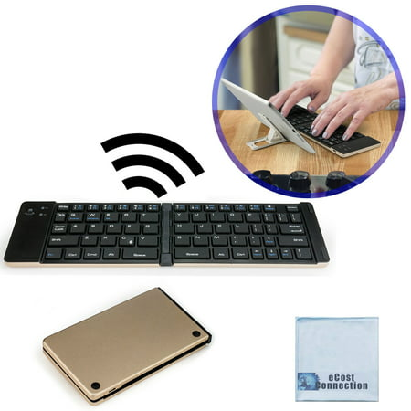 Foldable Bluetooth Keyboard for Computers, Laptops, Tablets, Smartphones, iPhones, Samsung, Android, iPads (Golden) + eCostConnection Microfiber