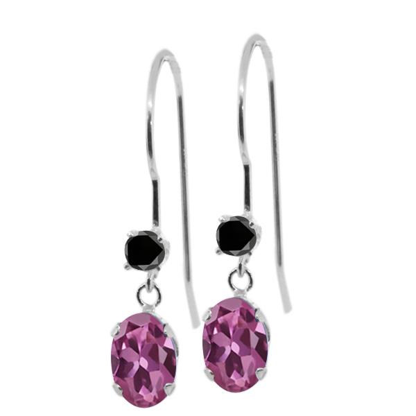 1.13 Ct Oval Pink Tourmaline Black Diamond 14K White Gold Earrings