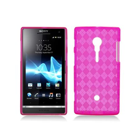 Pink with Crystal Plaid Pattern TPU Case Cover for Sony Xperia Ion Lt28I