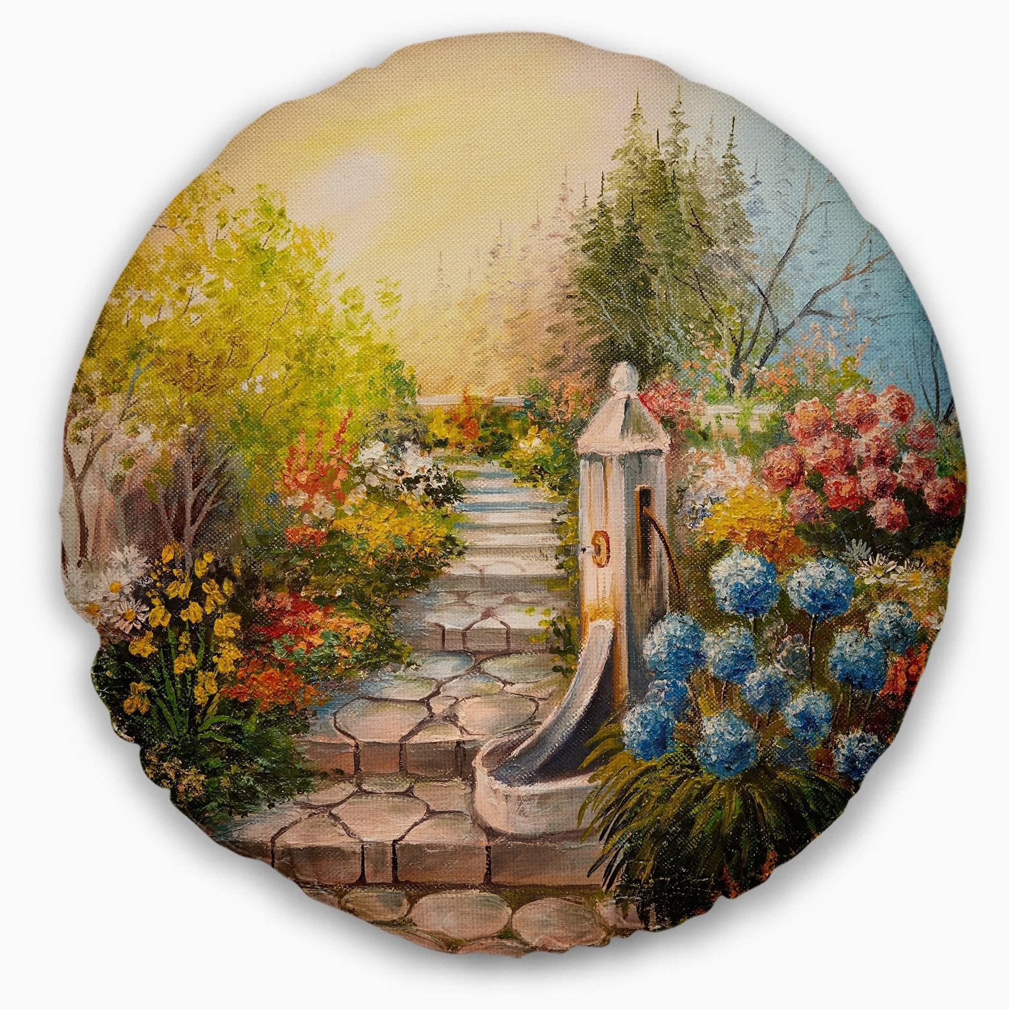 Design Art Designart Stone Stairs In Forest Landscape Painting Throw Pillow Walmart Com Walmart Com