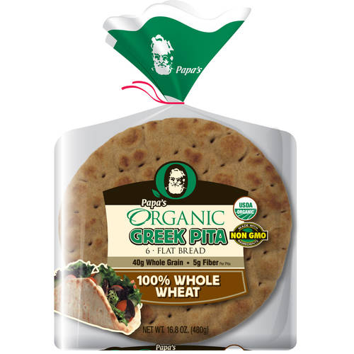 "Papa Pita Organic 100% Whole Wheat 7"" Greek Pita Flat Bread 6 ct"