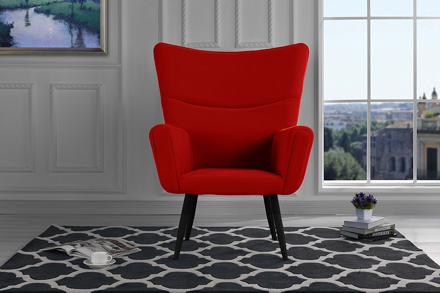Mid-Century Modern Velvet Accent Armchair, Futuristic Style Living Room Chair (Black) by Sofamania