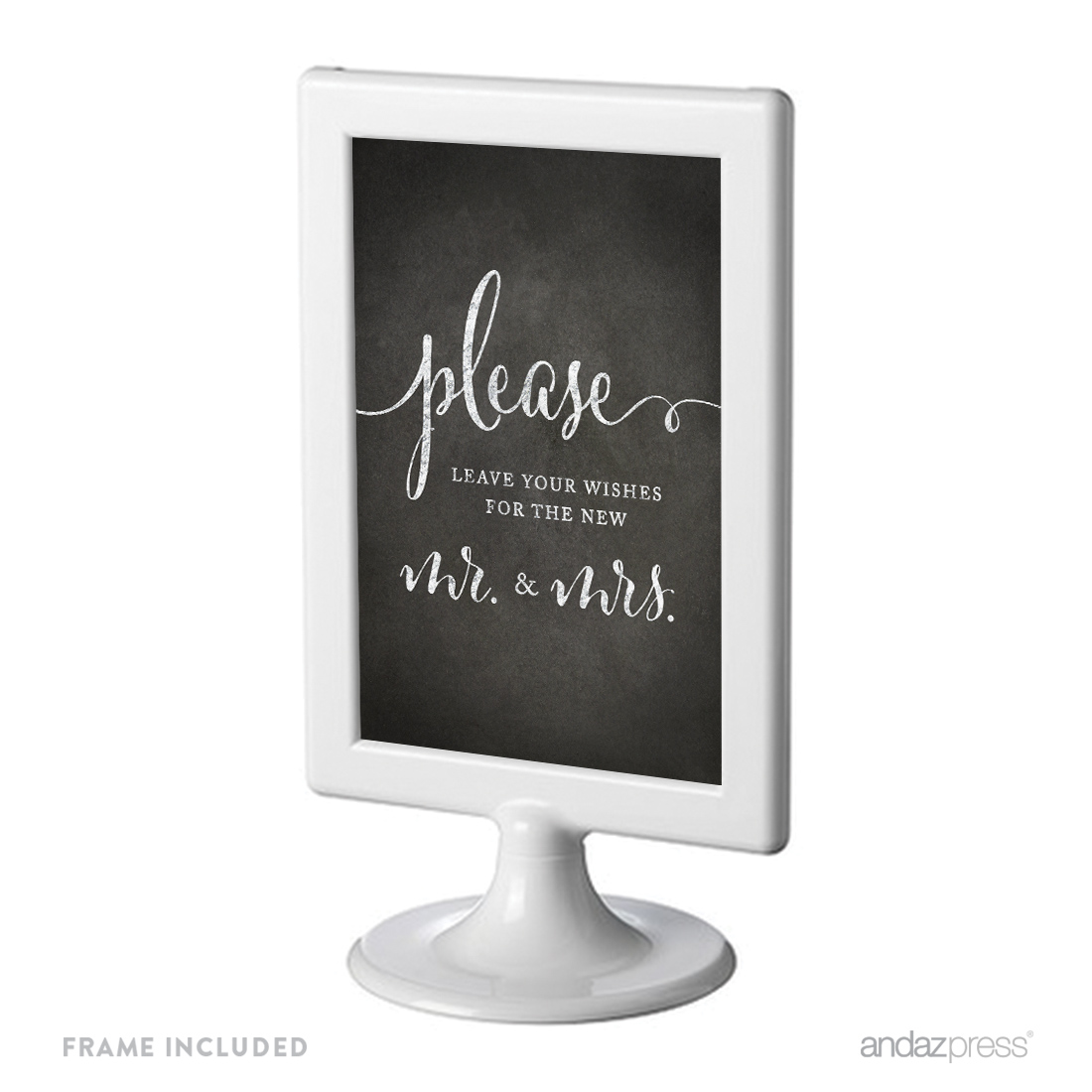 Leave Your Wishes For New Mr. & Mrs. Framed Vintage Chalkboard Wedding Party Signs