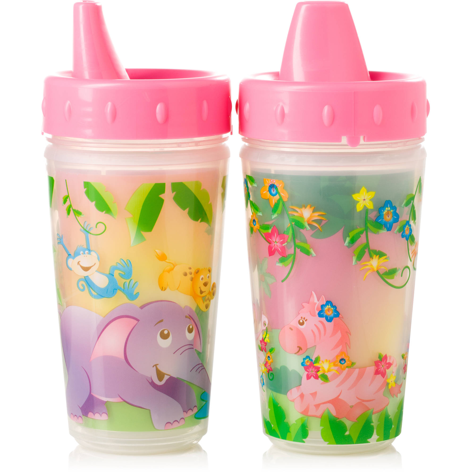 Evenflo Zoo Friends Insulated Sippy Cup, 2-Pack, Girl, BPA-Free