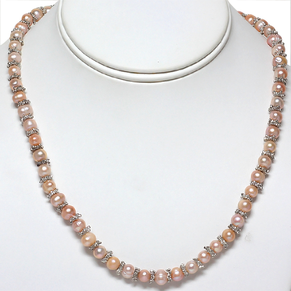 "18"" Peach Cultured Freshwater Pearl Necklace with Metal Spacer"