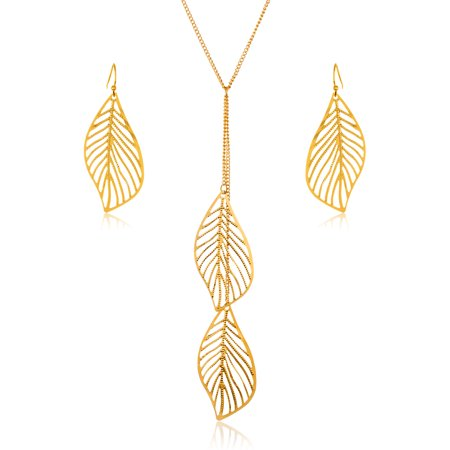 - Gold Tone Leaf Drop Necklace and Earrings Jewelry Set