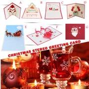 3D Christmas Card Three-dimensional Hollow Christmas Card Paper Sculpture Handmade Christmas Greeting Card Home Decoration - Santa Claus Bell Series