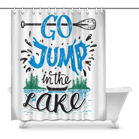 MKHERT Funny Summer Quote Go Jump in the Lake Canoe Fishing Theme Home Decor Waterproof Polyester Bathroom Shower Curtain Bath Decorations Hooks 60x72 - Bridal Shower Themes For Summer