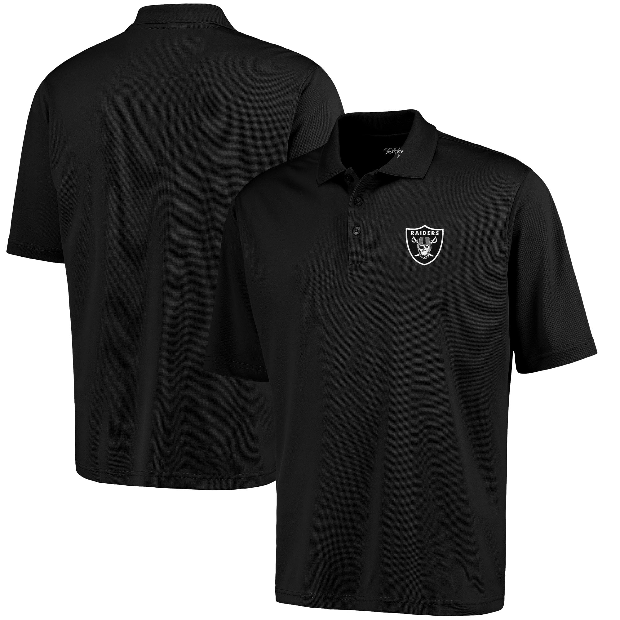 Oakland Raiders Antigua Pique Xtra-Lite Polo - Black