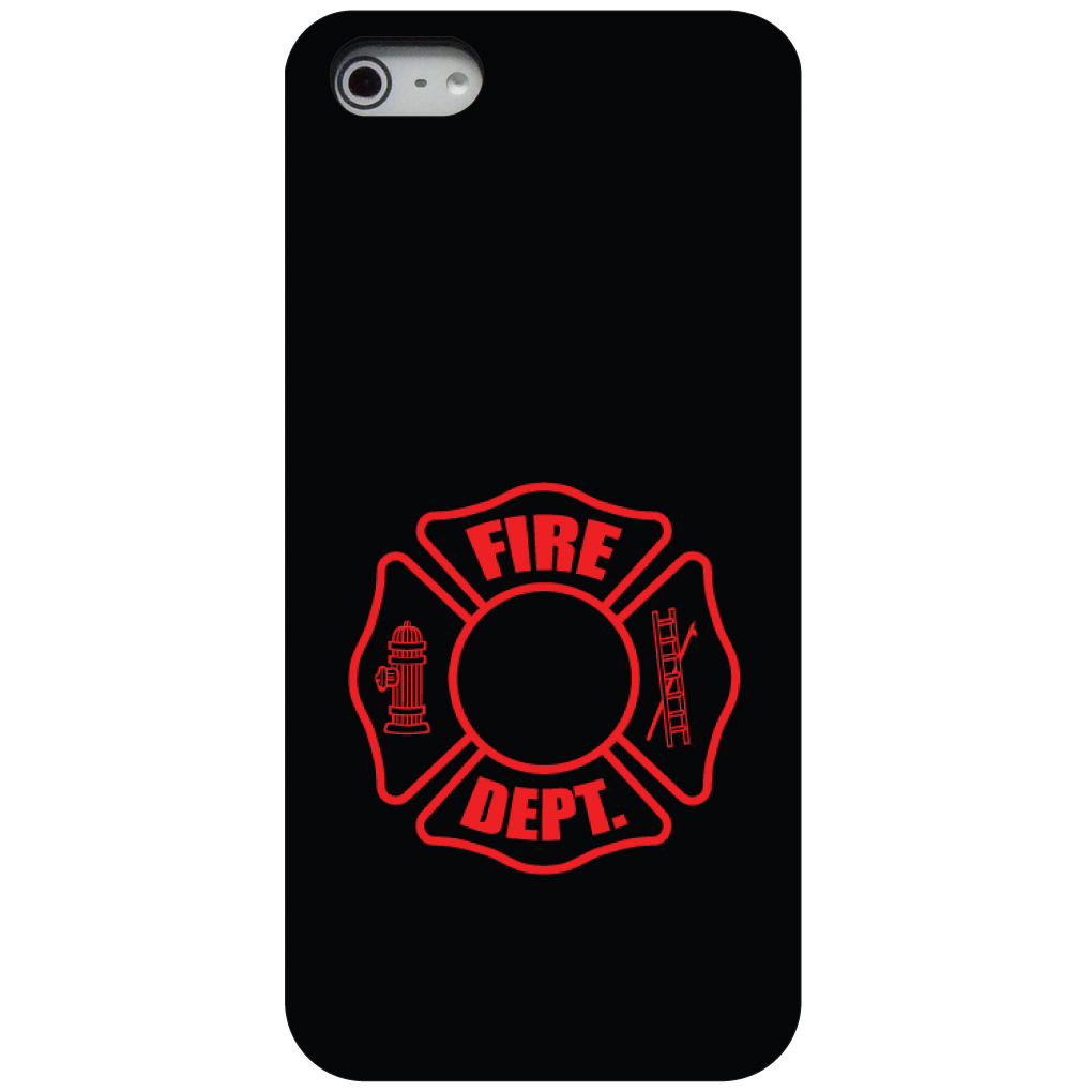 CUSTOM Black Hard Plastic Snap-On Case for Apple iPhone 5 / 5S / SE - Red Fire Department