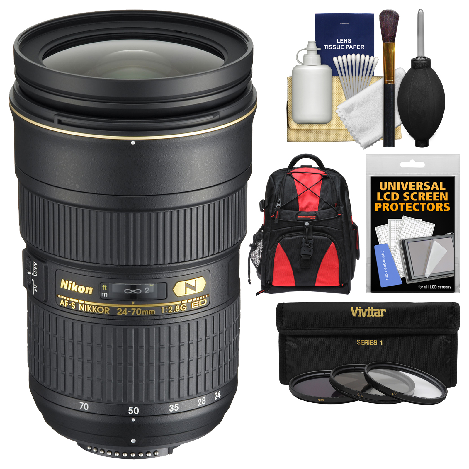 Nikon 24-70mm f/2.8G AF-S ED Zoom-Nikkor Lens - Factory Refurbished with Backpack + 3 (UV/ND8/CPL) Filters + Accessory Kit