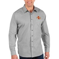Iowa State Cyclones Antigua Big & Tall Structure Button-Up Long Sleeve Shirt - Black/White