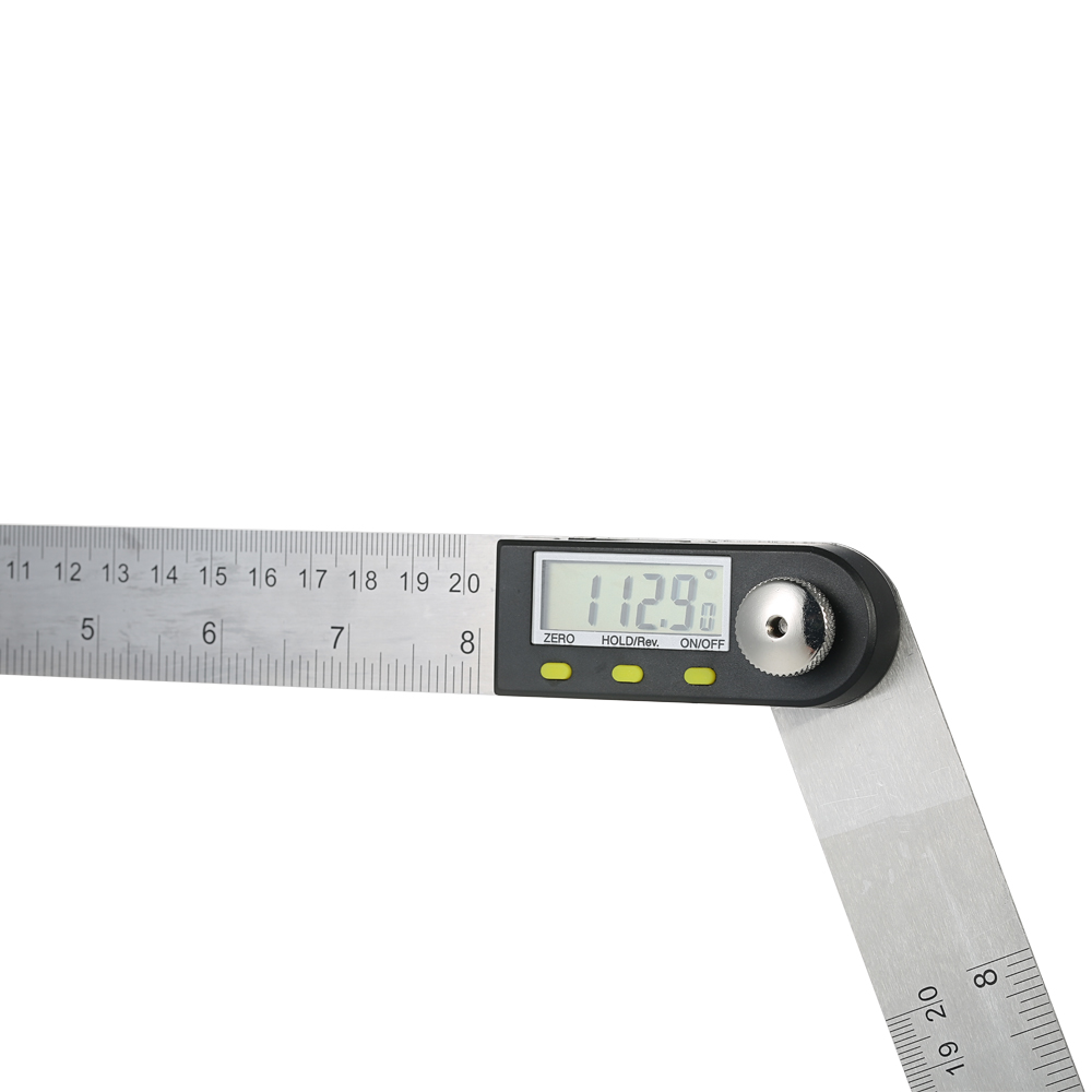0-200mm/8 inches Stainless Steel Digital Protractor Angle Finder Ruler with Reversible Reading Hold Function