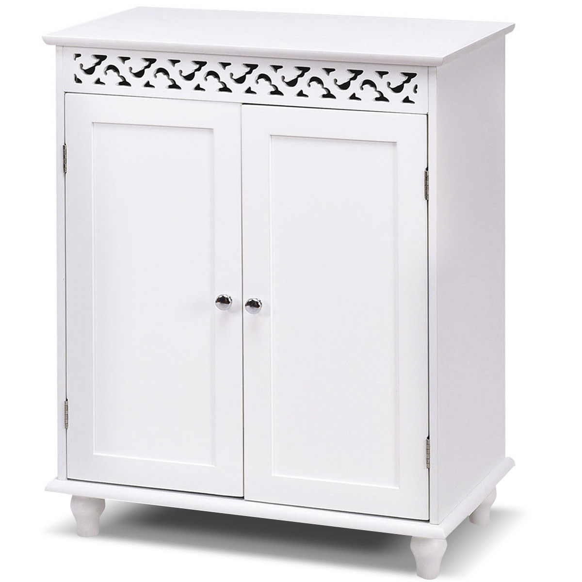 Awesome Gymax White Wooden 2 Door Bathroom Cabinet Storage Cupboard 2 Shelves Free  Standing