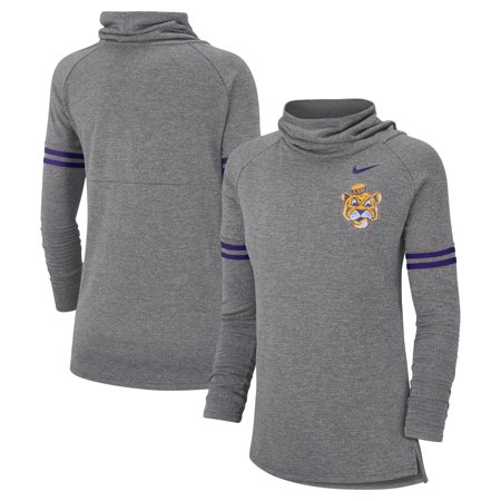 LSU Tigers Nike Women's Vault Sleeve Striped Funnel Neck Sweatshirt - Heathered Gray