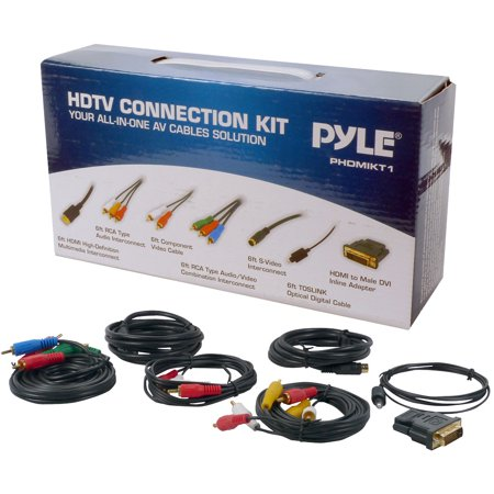Digital Dvd Connection Kit - PYLE PHDMIKT1 - HDTV Audio/Video Cable Connection Kit Compatible w/ Plasma, LCD/LED/DLP/DVD and Audio Players