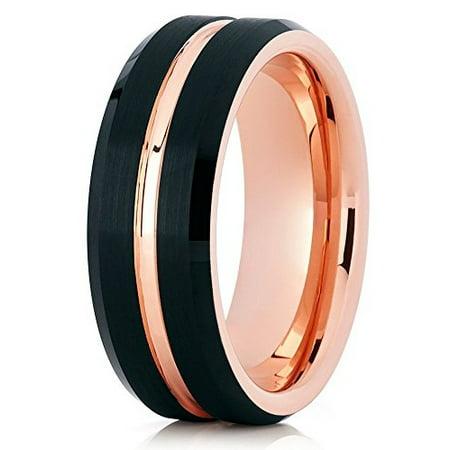 Tungsten Wedding Band 18K Rose Gold Tungsten Ring 8mm Black Tungsten Band Men & Women Brushed Comfort (8 Mm Brush Band)