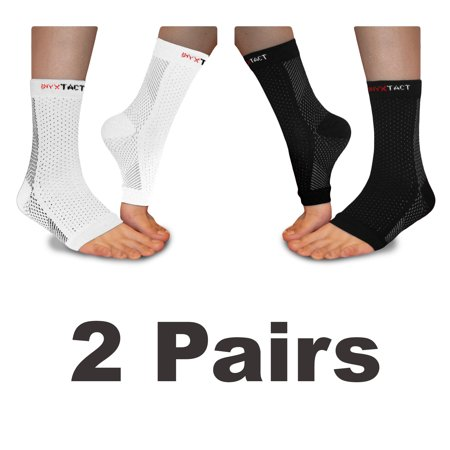 ONYX TACT Compression Sleeve for Foot Relief & Arch Support - Aids Swollen Feet, Edema Relief, Plantar Fasciitis, & Achilles Tendonitis - Better Comfort Than Night Splint (2 PAIRS, 1 BLK, 1