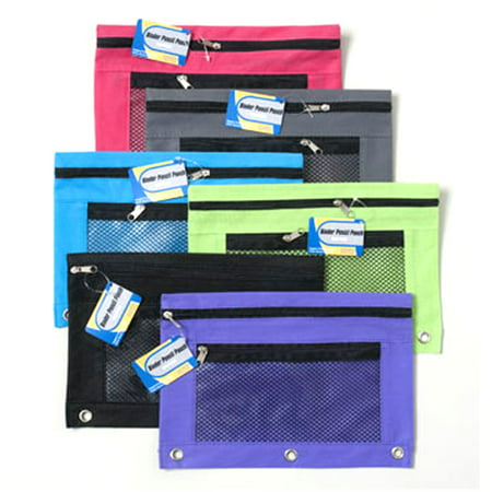 2 Pencil Zipper Pouch 3 Ring Binder Bag Pen Marker Storage Holder School Supply ()