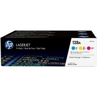 HP 128A (CF371AM) Cyan/Magenta/Yellow Original LaserJet Toner Cartridges, 3-Pack