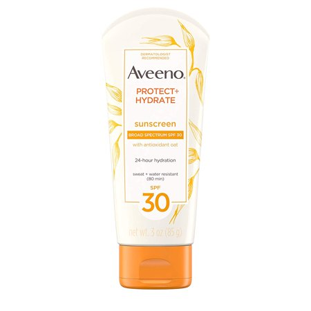 Protect + Hydrate Moisturizing Sunscreen Lotion with Broad Spectrum SPF 30 & Antioxidant Oat, Oil-Free, Sweat- & Water-Resistant Sun Protection, Travel-Size, 3 oz Aveeno