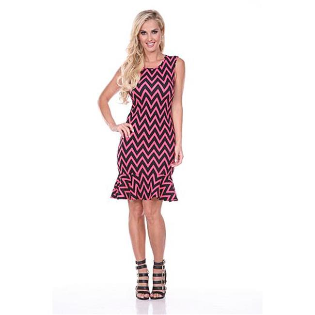 White Mark Universal 828-02-XL Slim Fit Ruffle-Trim Shift Dress - 02- Fuchsia - Extra Large - image 1 de 1