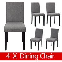 Product Image Dining Chair Set Of 4 Elegant Design Modern Fabric Upholstered For Room Grey