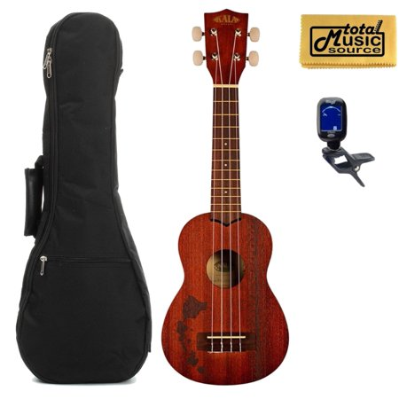 Kala KA-15S-H2 Mahogany Soprano Ukulele Bundle with Gig Bag, Tuner & TMS Polishing Cloth