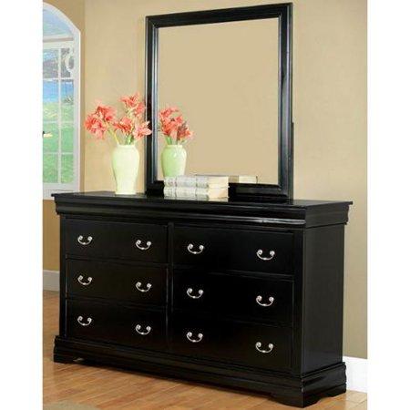 furniture of america marikina black dresser with mirror. Black Bedroom Furniture Sets. Home Design Ideas