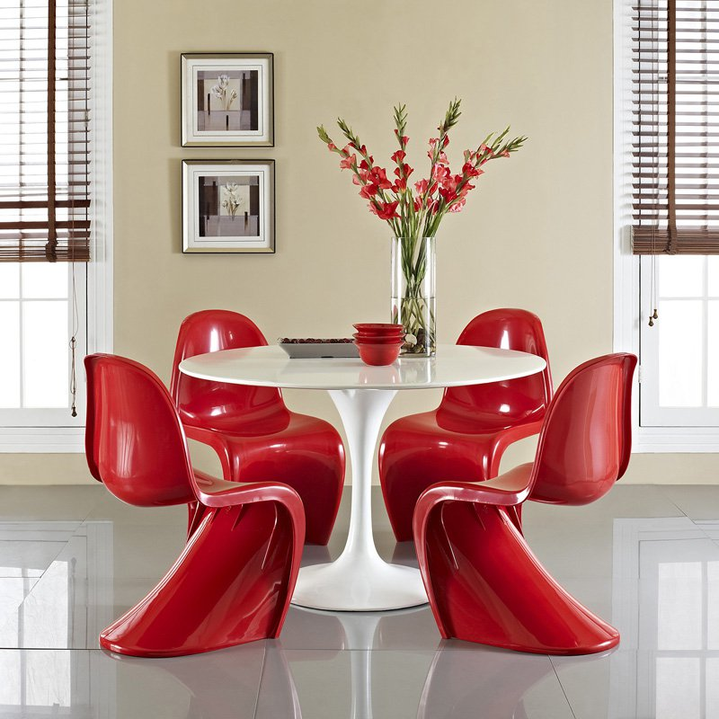 Modway Lippa 5 Piece Dining Table Set, Red Dining Room Set