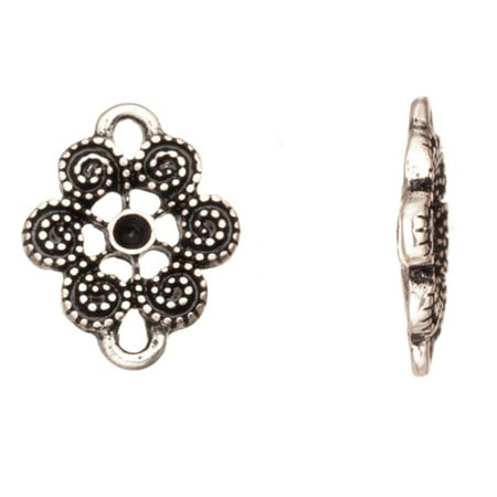 Flower Connector - Spiral Flower Silver-Plated Connector Fits ss6.5/Pp14 Rhinestones 15.2x12mm