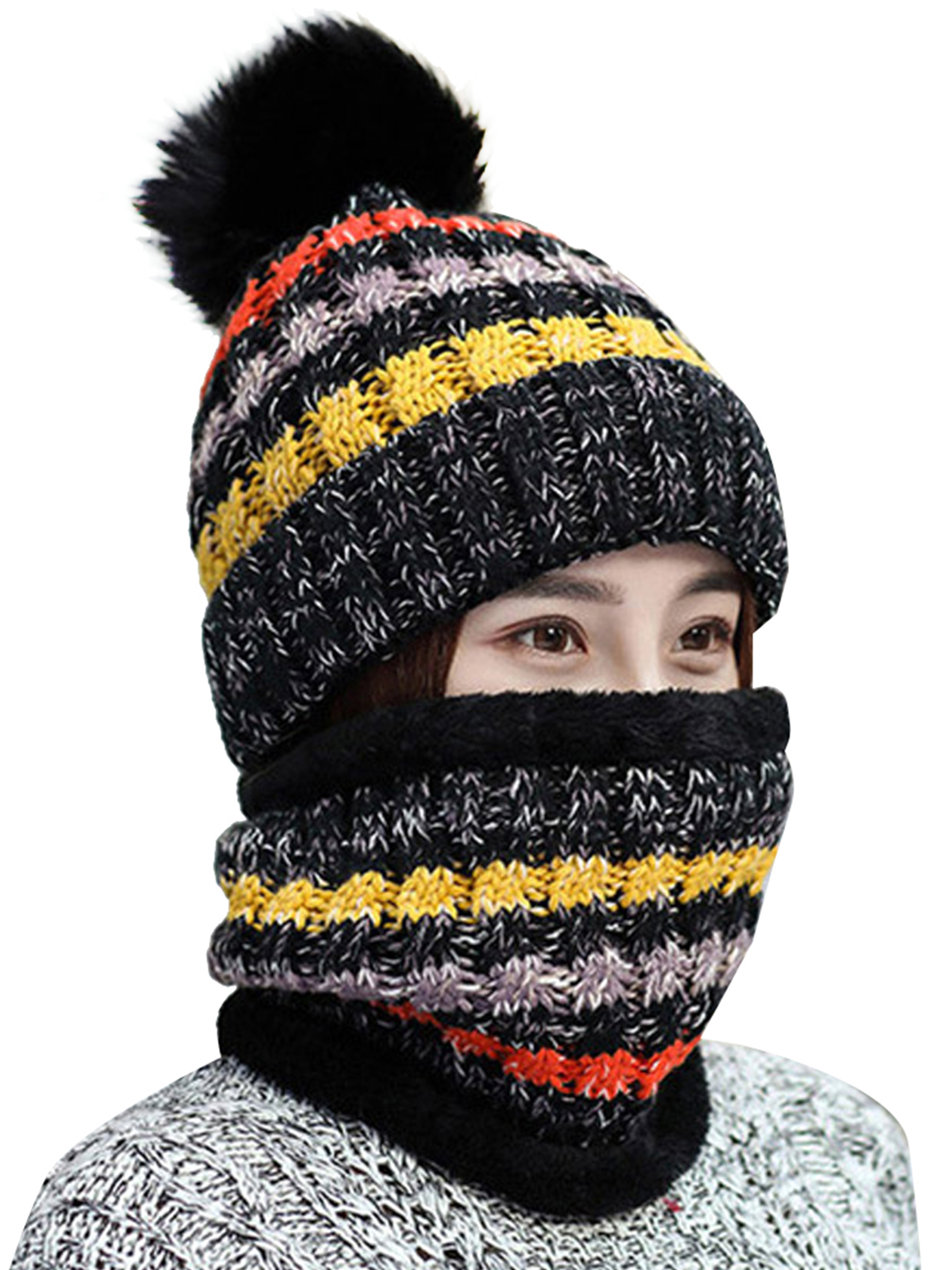 Afinder Kids Windproof Balaclava with Pompoms Knitted Long Earflap Hat with Neckerchief
