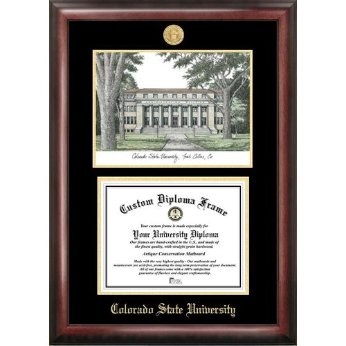 """Colorado State University 8.5"""" x 11"""" Gold Embossed Diploma Frame with Campus Images Lithograph"""