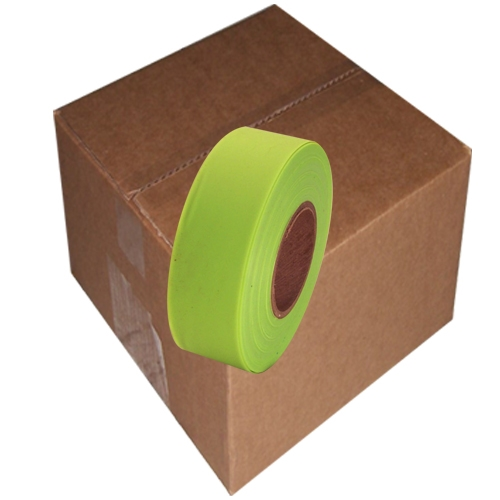 12 Roll Case of Fluorescent Lime Flagging Tape 1 3/16 inch x 150 ft Non-Adhesive