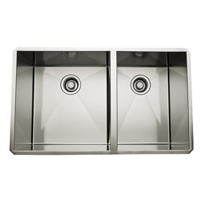 "Rohl RSS3118SB 31"" 60/40 Double Basin Stainless Steel Kitchen Sink, Brushed Stainless"