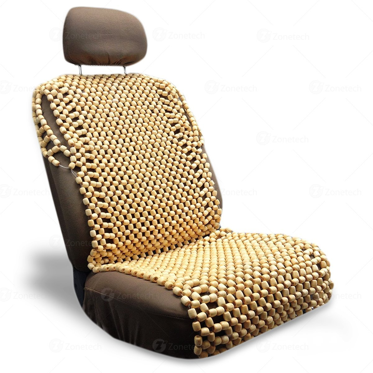 Zone Tech Natural Royal Wood Bead Seat Cover Massage Cool Premium Comfort  Cushion   Reduces Fatigue