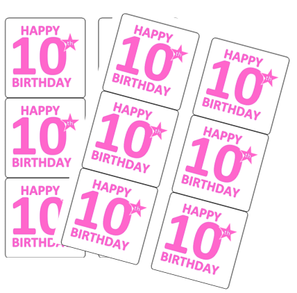 120ct Happy 10th Birthday Stickers