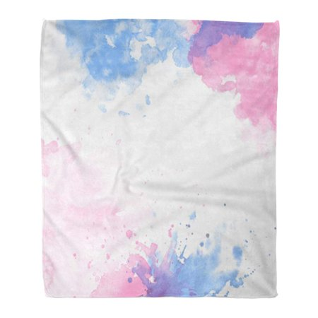 HATIART Throw Blanket Warm Cozy Print Flannel Watercolor for Abstract Spray Paint Ink Stains Color Pink Blue Rose Quartz Comfortable Soft for Bed Sofa and Couch 58x80 Inches - image 1 of 1